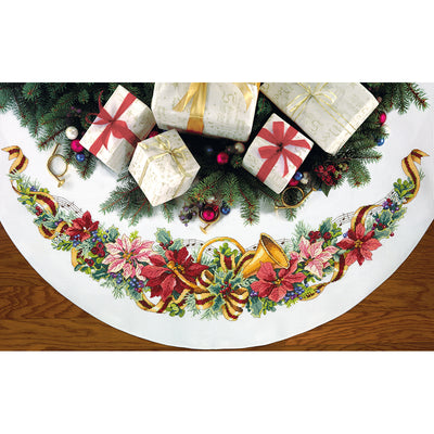 "Dimensions Counted Cross Stitch Kit 45"" Round-Holiday Harmony Tree Skirt (11 Count)"