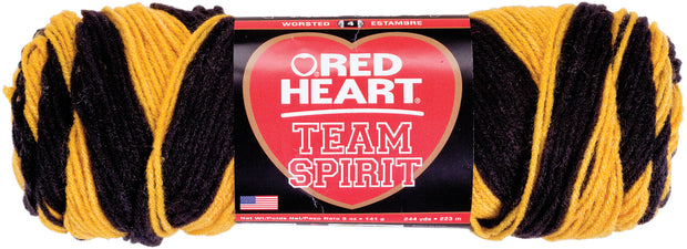 Red Heart Team Spirit Yarn-Gold & Black