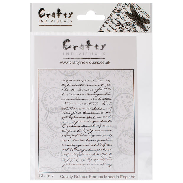 "Crafty Individuals Unmounted Rubber Stamp 4.75""X7"" Pkg-French Script"