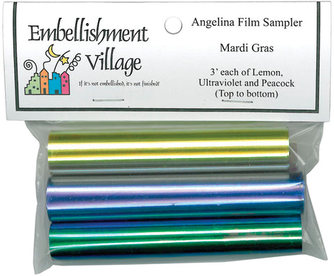"Angelina Film Sampler 4""X3' 3/Pkg-Mardi Gras -Lemon, Ultraviolet & Peacock"