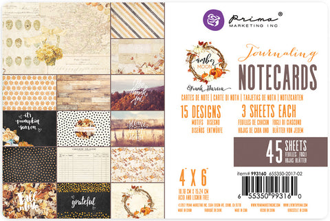 "Amber Moon Double-Sided Journaling Cards 4""X6"" 45/Pkg-15 Designs/3 Each"