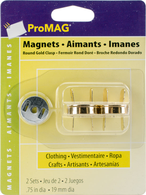 "ProMag Magnetic Clasps 3/4"" 2/Pkg-Round Gold"
