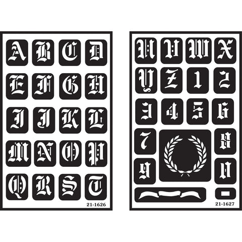 "Over'n'over Reusable Stencils 5""x8"" 2/pkg-Old English Alphabet"