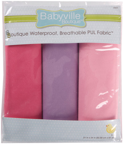 "Babyville Boutique PUL Fabric Packaged 21""X24"" Cuts-Light Pink, Dark Pink & Light Purple"
