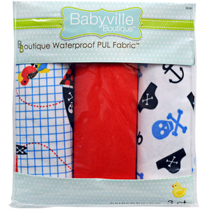 "Babyville Boutique Pul Fabric Packaged 21""X24"" Cuts-Little Pirate, Skulls & Red"