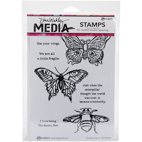 "Dina Wakley Media Cling Stamps 6""X9""-Scribbly Insects"