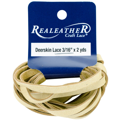"Realeather Crafts Deerskin Lace .1875""X2yd Packaged-Buckskin"