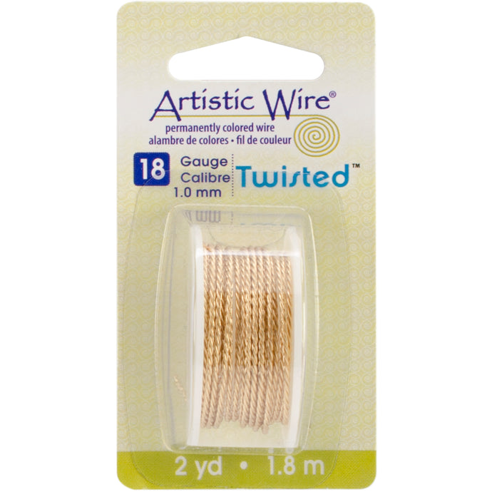 Artistic Wire Twisted-Non-Tarnish Brass - 18 Gauge, 2yd