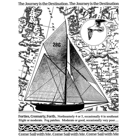 "Crafty Individuals Unmounted Rubber Stamp 4.75""X7"" Pkg-Come Sail With Me"