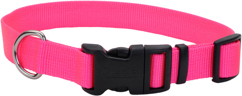 "Adjustable Nylon 3/8"" Dog Collar W/Tuff Buckle-Neon Pink, Neck 8""-12"""