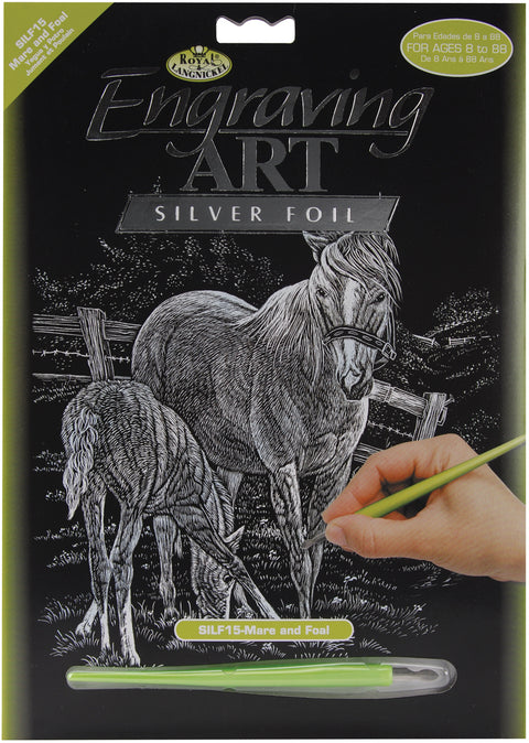 "Silver Foil Engraving Art Kit 8""X10""-Mare & Foal"