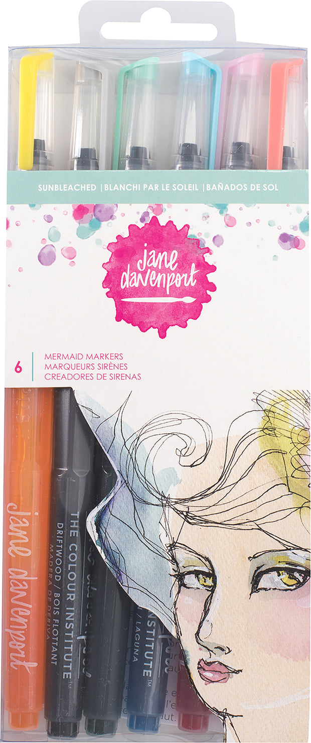 Jane Davenport Mixed Media 2 Mermaid Markers 6/Pkg-Sun Bleached