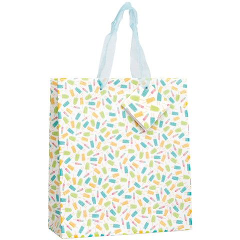 "American Crafts Gift Bag W/Ribbon Handles & Tag 9.5""X9.5""X4""-Popsicle W/Spot Varnish"