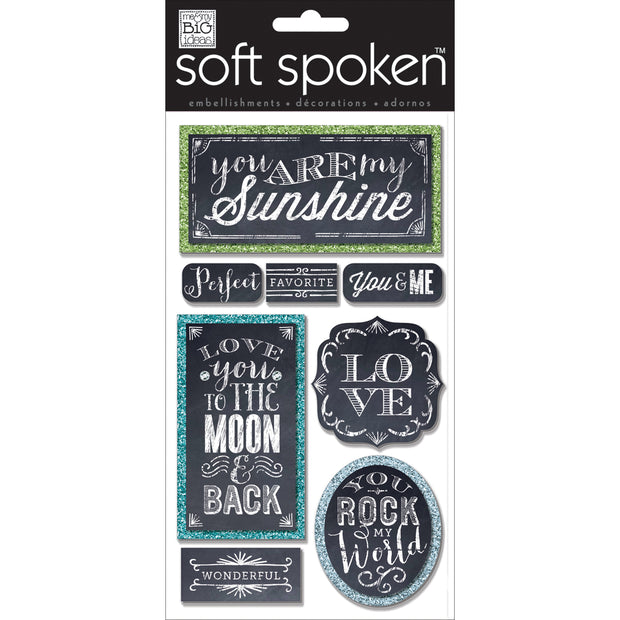 Me & My Big Ideas Soft Spoken Themed Embellishments-Chalk - You Are My Sunshine