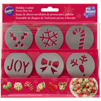 Holiday Cookie Press Disc Set 6/Pkg-Christmas
