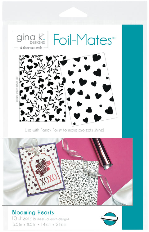 "Gina K Designs Foil-Mates Background 5.5""X8.5"" 10/Pkg-Blooming Hearts, 2 Designs/5 Each"