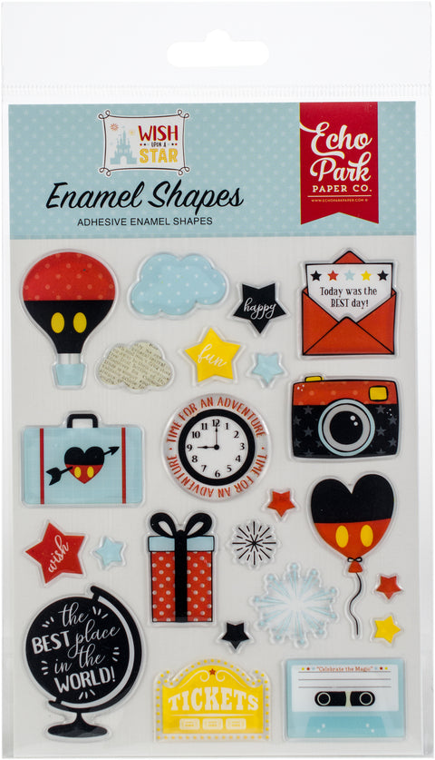 Echo Park Adhesive Enamel Shapes 23/Pkg-Wish Upon A Star Shapes