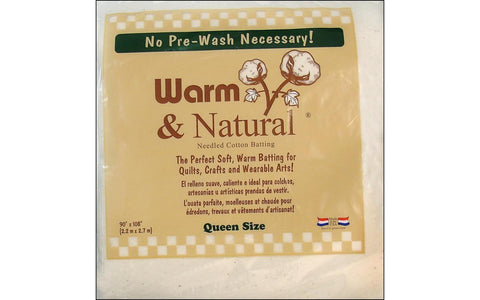 Warm & Natural Cotton Batting Queen 90x108