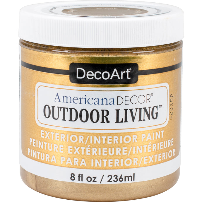 Americana Decor Outdoor Living Metallic Paint 8oz-Brass