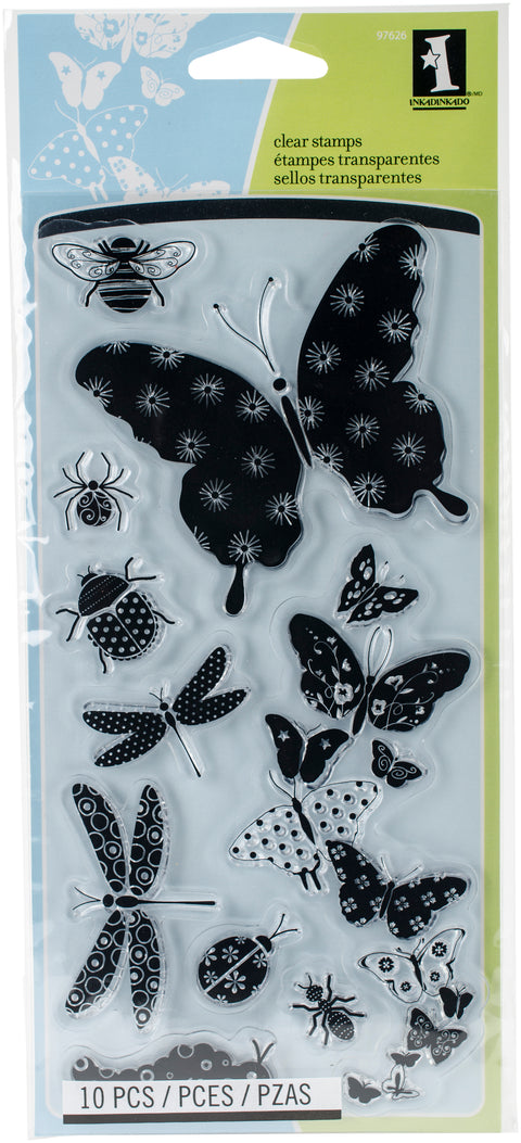 "Inkadinkado Clear Stamps 4""X8""-Patterned Bugs"