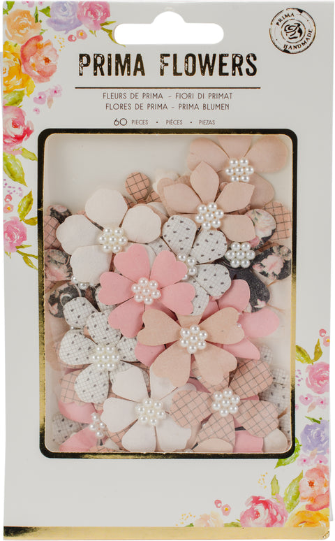 "Prima Marketing Amelia Rose Paper Flowers-Sweet Memory, .75"" - 1.25"" 60/Pkg"