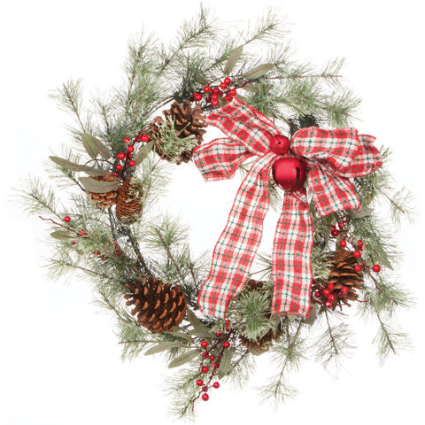 "Berry/Pine Wreath W/Bow 24""-"