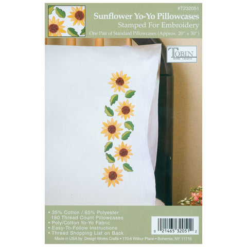 "Tobin Stamped For Embroidery Pillowcase Pair 20""X30""-Sunflower Yo-Yo"