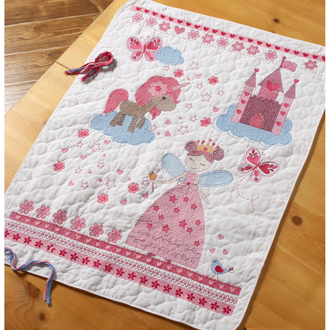 "Bucilla Stamped Crib Cover Cross Stitch Kit 34""X43""-Fairytale Princess"