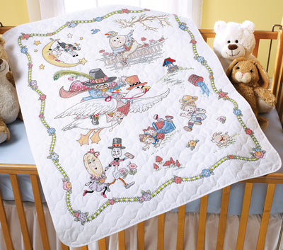 "Bucilla Stamped Crib Cover Cross Stitch Kit 34""X43""-Mary Engelbreit Mother Goose"