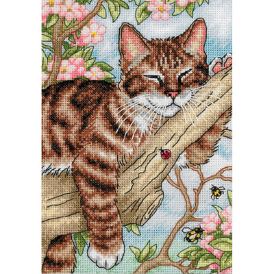 "Dimensions Gold Petite Counted Cross Stitch Kit 5""X7""-Napping Kitten (18 Count)"