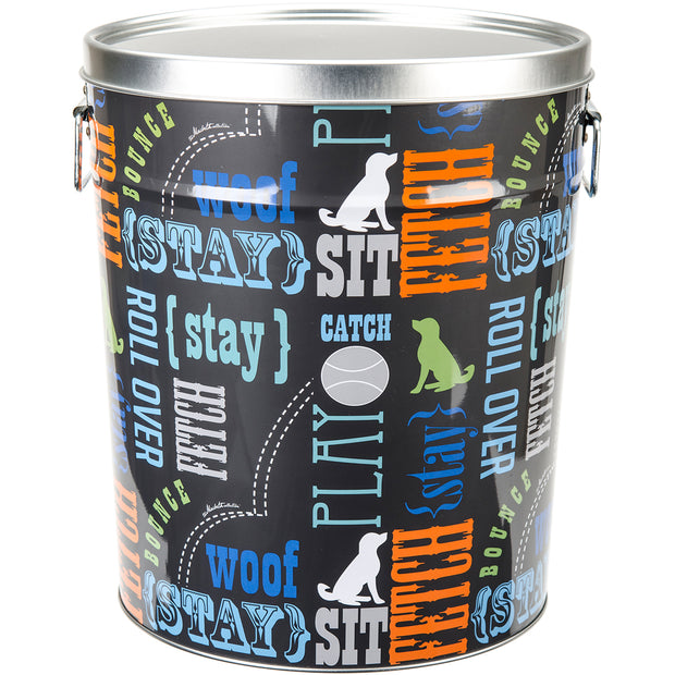 "Tin Pet Food Container 10.25""X10.25""X11.88""-Word Play"