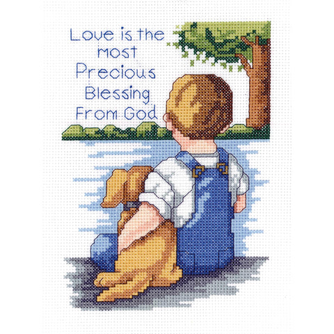 "Janlynn Mini Counted Cross Stitch Kit 5""X7""-Precious Blessing (14 Count)"