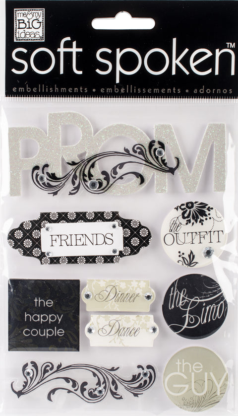 Me & My Big Ideas Soft Spoken Themed Embellishments-Black & White Prom