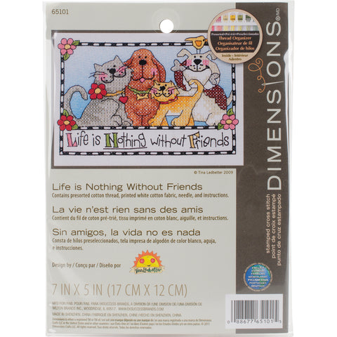 "Dimensions Mini Stamped Cross Stitch Kit 7""X5""-Life Is Nothing Without Friends"