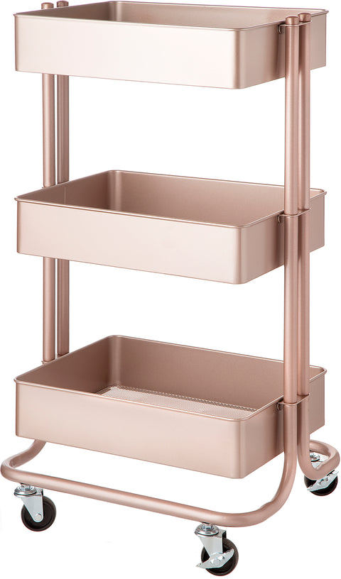 Darice 3-Tier Metal Rolling Cart-Rose Gold