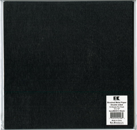 "Best Creation Brushed Metal Double-Sided Paper 12""X12""-Black"