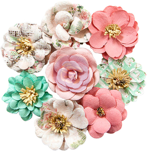 Prima Marketing Havana Mulberry Paper Flowers 8/Pkg-Blanca