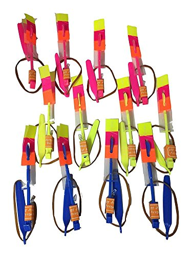 AxiEr 12pcs Amazing Flying Toy Led Arrow Helicopter Copter - Elastic Powered Sling Shot Heli. Party Fun Gift Elastic