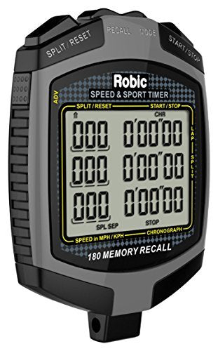 Robic Watches 180 Lap Memory Digital Speed and Sport Timer Stopwatch P/N 68889