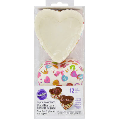 Disposable Standard Baking Cups-Scalloped Heart Words Can Express 12/Pkg