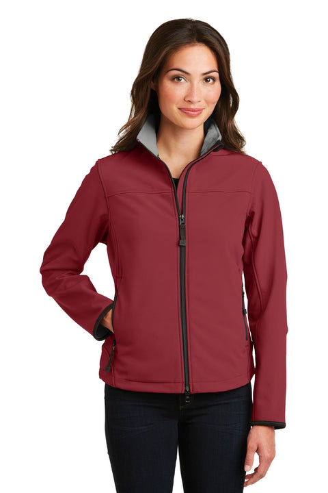 Port Authority® Ladies Glacier® Soft Shell Jacket.  L790 Caldera Red/Chrome 3XL