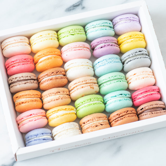 30 pcs Classic & Premium Macarons in Gift Box and Paper Bag  | Use Code: STAYHAPPY50 | $68 Only
