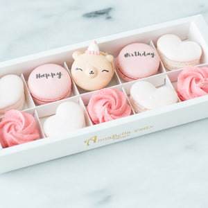 10pcs Birthday Girl Macarons in a Gift Box | Complimentary Ribbon and Personalised Message | $38.80 Nett