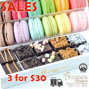 3.3. Sales | 3 Boxes for $30 Bundle | Any 3 Boxes | Brownies 10pcs OR Macarons 6pcs | CODE: STAYHAPPY50 or 33SALES | Limited Qty 1st 300 | $30.00 Only