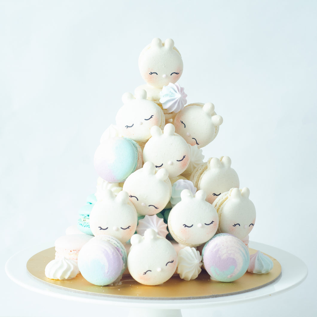 Bunny Macaron Tower |  43pcs Macarons Total in a Tower | Use Code: STAYHAPPY50 | $138 Only!