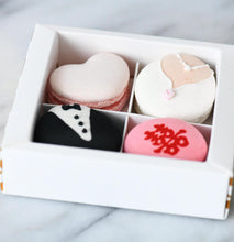 Wedding Bride & Groom Character Macarons | 4pcs Elegant Gift Box with Transparent Sleeve