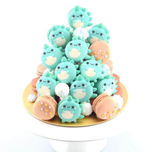 Dinosaur Macaron Tower |  43pcs Macarons Total in a Tower | Use Code: STAYHAPPY50 | $138 Only