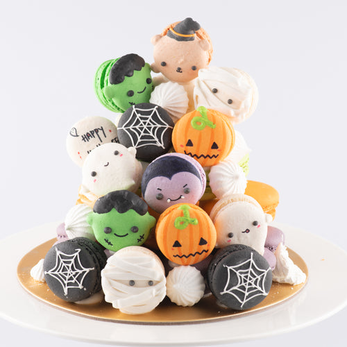 Halloween Macaron Tower |  43 pcs Macarons Total in a Tower | $158 NETT