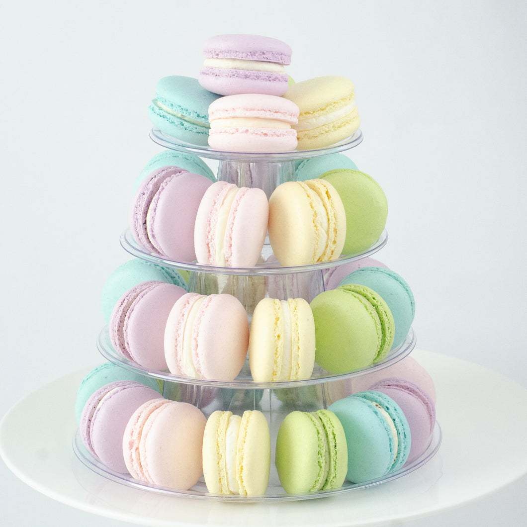 4 Tier Tower (40pcs Classic or Premium Macaron) | Includes Free Tower | Simple Self-Assemble | $120 Nett Only