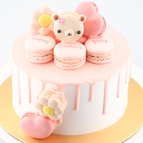 Happy Mother's Day | I Love Mama ♥ Lychee Rose Cake + 10pcs Macarons | FREE 1 Stalk Carnation Flower | Free Mothers Day Cake Topper | Free Delivery | Limited 100 Sets| Early Bird $98 Nett